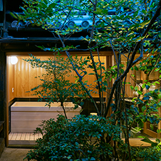Guest Rooms on the ground floor with an exclusive Japanese style patio and a cypress bath in semi-open-air